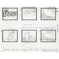 Eleven page opening title storyboard for The Dukes