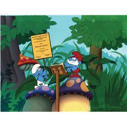 Smurfs original hand-painted presentation cel and original hand-painted production background