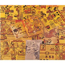 Lot of 1934 Post Toasties cereal box backs with Mickey Mouse and friends themed cutouts