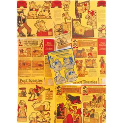 Lot of 1934 Post Toasties cereal box backs with Disney Silly Symphony themed cutouts