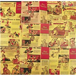 Lot of 1934 Post Toasties cereal box backs with Pinocchio themed cutouts