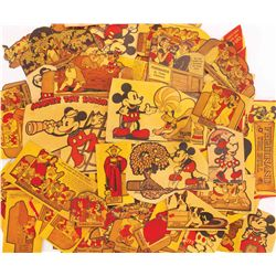Lot of 1934 Post Toasties cereal box backs with various Disney themes