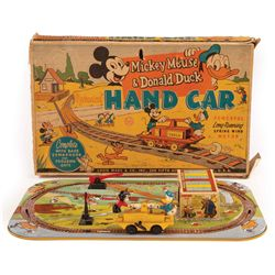 1950s Mickey Mouse and Donald Duck hand car in box