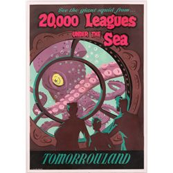 """Original hand-silkscreened poster for the Disneyland """"20,000 Leagues"""" attraction"""