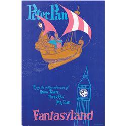 "Original hand-silkscreened poster for the Disneyland Fantasyland ""Peter Pan"" ride attraction"
