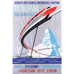 """Original hand-silkscreened poster for the Disneyland """"Monorail"""" attraction"""
