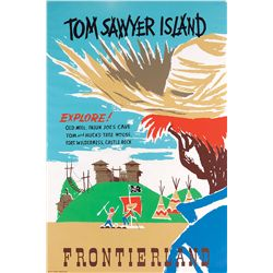 "Original hand-silkscreened poster for the ""Tom Sawyer Island"" attraction"