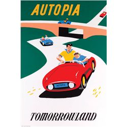 "Original hand-silkscreened poster for the ""Autopia"" attraction"