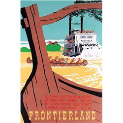 "Original hand-silkscreened poster for the Disneyland ""Mark Twain Paddle-Wheeler"" attraction"