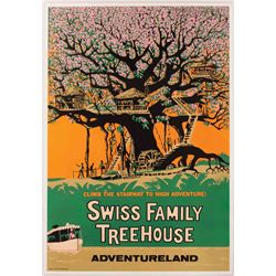 """Original hand-silkscreened poster for the """"Swiss Family Treehouse"""" attraction"""
