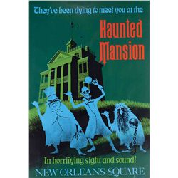 """Original hand-silkscreened poster for the """"Haunted Mansion"""" attraction"""