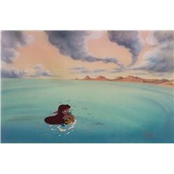 Original production cel and matching production background from The Little Mermaid