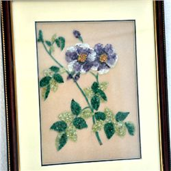 2D Flower Natural Gemstone Painting size 13.5in.x16.5in