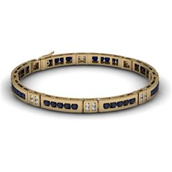 Sapphire 2.96 ctw& Diamond Bracelet 14kt W OR Y Gold
