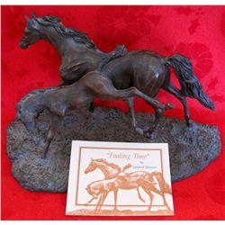 """Franklin Mint """"Foaling Time"""" Bronze Sculpture"""