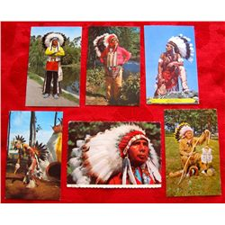 Lot of 6 Vintage Native Indian Chief Postcards