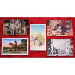 Lot of 5 Vintage Native American Indian Postcards