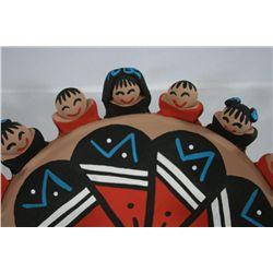 Set of Native American Storyteller Pottery Bowls