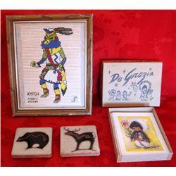 Native Indian Kachina, Fetish Tile, DeGrazia Cards