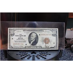 1929 $10 BILL - BANK OF BOSTON