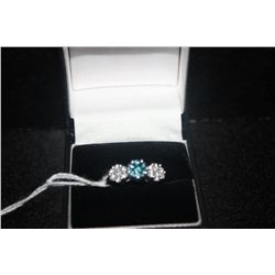 14 K WHITE GOLD BAND WITH 7 BLUE CUT DIAMONDS 14 WHITE CUT DIAMONDS EACH DIAMOND APPROX. 5 PT OVER 1