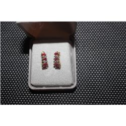 14 K YELLOW GOLD POST EARRINGS WITH MARQUIS RUBIES ON EACH TOTAL 8 RUBIES