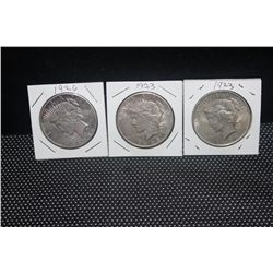 3 PEACE DOLLARS - (2) 1923 - (1) 1926
