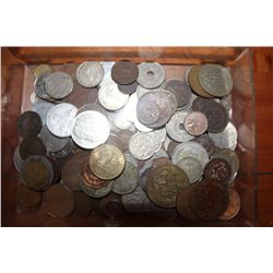 LARGE LOT OF WORLD COINS - SOME SILVER