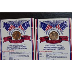 2 UNIQUE BICENTENNIAL PENNIES - B.U.
