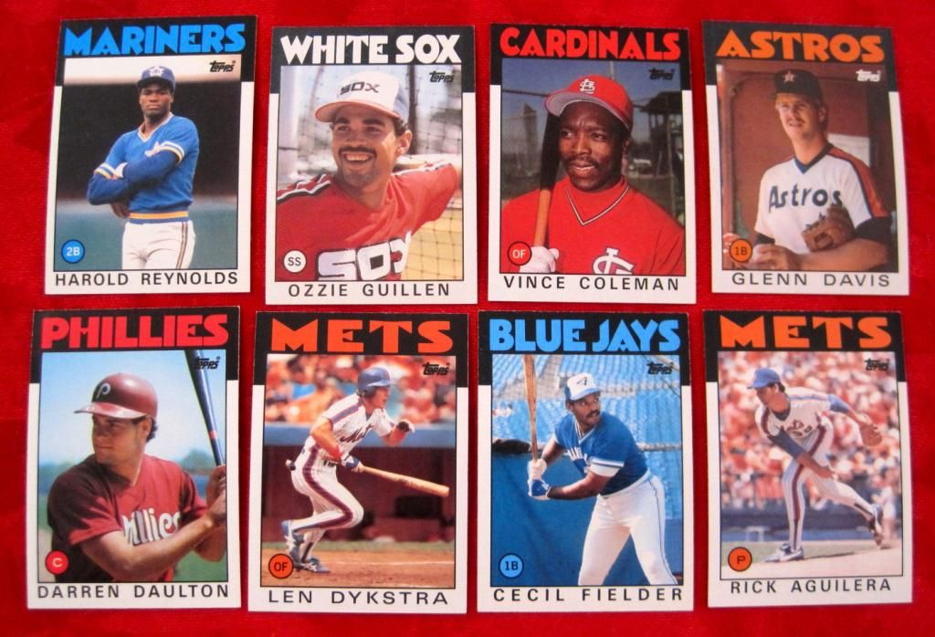 8 1986 Topps Rookie Baseball Cards