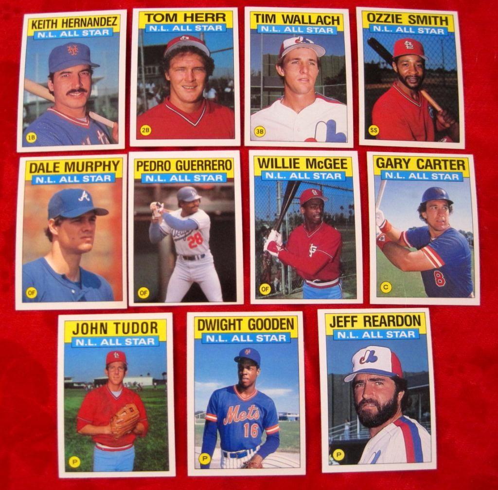 1986 Topps 701 711 Nl All Star Baseball Cards