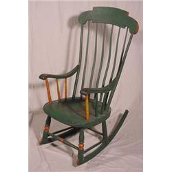 Superb Lot 327 Old Boston Rocker With Green Paint Spiritservingveterans Wood Chair Design Ideas Spiritservingveteransorg