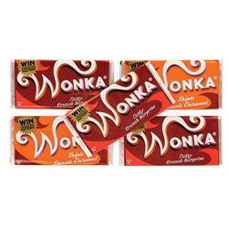 COLLECTION OF FIVE PROP WONKA CHOCOLATE BARS FROM TIM BURTON'S CHARLIE AND THE CHOCOLATE FACTORY.
