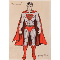 YVONNE BLAKE COSTUME SKETCH OF SUPERMAN FOR SUPERMAN: THE MOVIE.