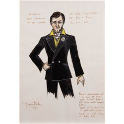 "YVONNE BLAKE COSTUME SKETCH OF GENE HACKMAN AS ""LEX LUTHOR"" FOR SUPERMAN: THE MOVIE"