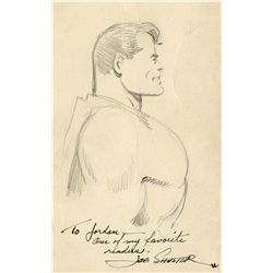 "SUPERMAN-RELATED LETTER WITH HAND-DRAWN & SIGNED SKETCH OF ""THE MAN OF STEEL"" BY CREATOR JOE SHUSTER"