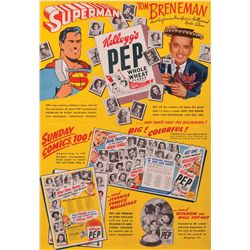 1940S KELLOGG'S PEP CEREAL BOX AND PROMOTIONAL POSTER WITH SUPERMAN AND TOM BRENEMAN