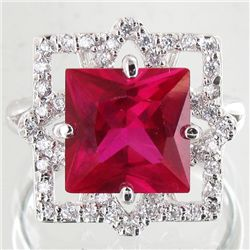34.94twc Red Lab Diamond White Gold Vermeil/925 Ring (JEW-3991)