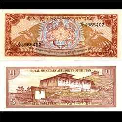 1986 Buthan 5 Ngultrum Note Crisp Unc (CUR-06799)