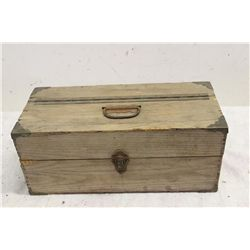 WOODEN TACKLE BOX FULL BRASS CORNERS