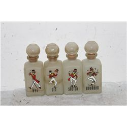 4 BAR SATIN GLASS BOTTLES
