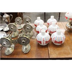 SET OF 6 WALL HANGING BUD LAMPS W/ GLASS SHADES - NEED CLEANING - 1 MONEY