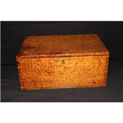 "EARLY BIRDSEYE DEED BOX 18"" X 11.5"" X 8"" HIGH"