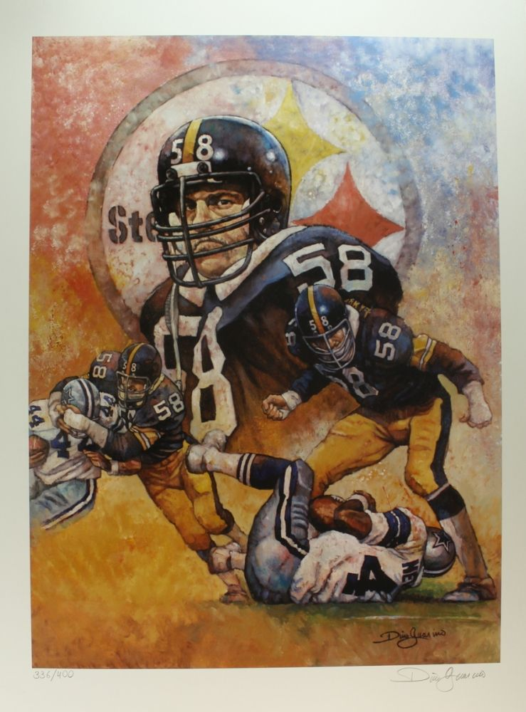 c7429968c06 Loading zoom · Image 1   Jack Lambert Limited Edition 23x32 Steelers  Lithograph Signed by Artist Dino Guarino ...
