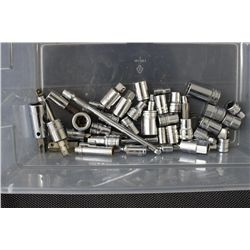 43 PIECES - MOST SNAP ON SOCKETS - EXTENSIONS- ETC.