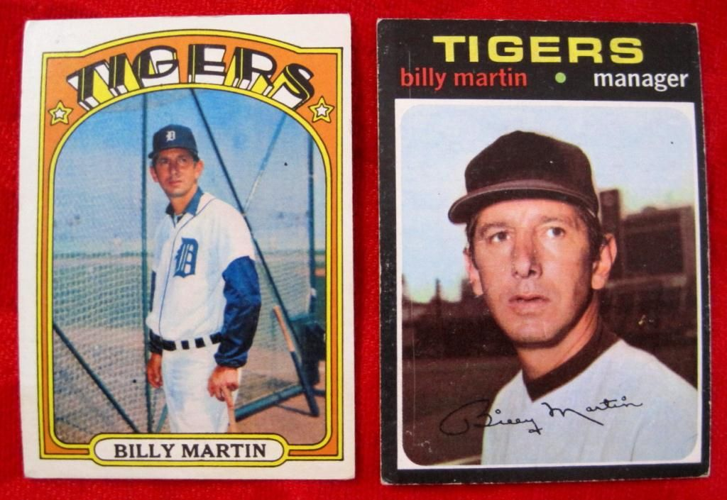 1971 1972 Topps Billy Martin Baseball Cards