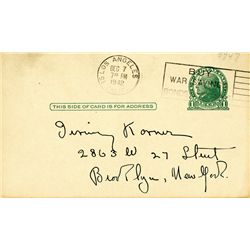 HUMPHREY BOGART HANDWRITTEN POSTCARD WITH CHESS MOVES AND SIGNATURES FROM CASABLANCA SET