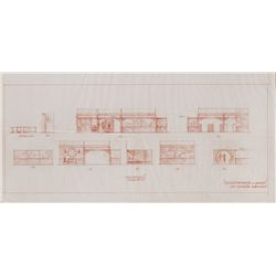 SOMEWHERE IN THE NIGHT ORIGINAL HAND-DRAWN ARCHITECTURAL SET DESIGNS BY JOSEPH JULIUS BABOLNAY