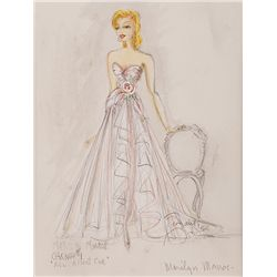 CHARLES LE MAIRE COSTUME SKETCH OF MARILYN MONROE FOR ALL ABOUT EVE