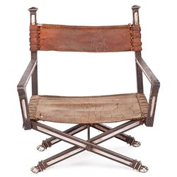SET-USED WOOD AND WOOD AND LEATHER CHAIR FROM CLEOPATRA